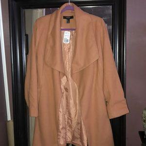 Camel belted wrap coat